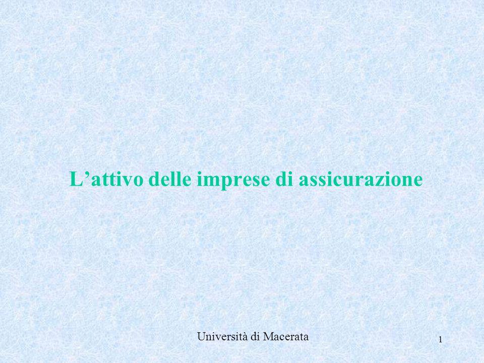 1 L'attivo delle imprese di assicurazione Università di Macerata