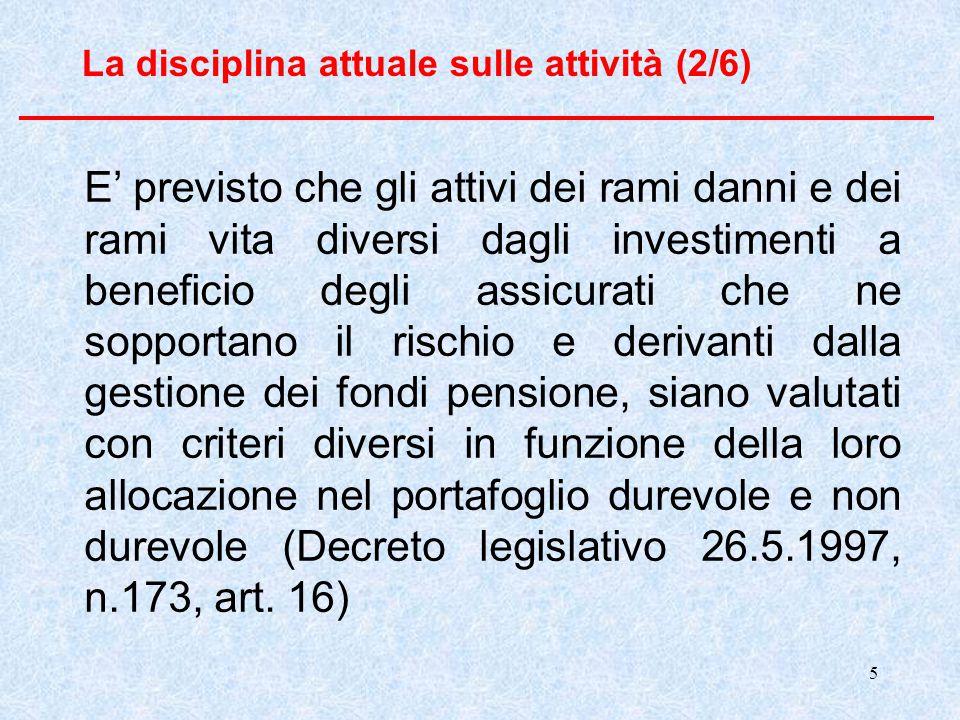 5 La disciplina attuale sulle attività (2/6) E' previsto che gli attivi dei rami danni e dei rami vita diversi dagli investimenti a beneficio degli as