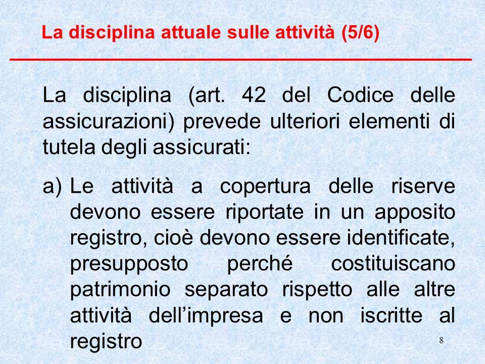 9 La disciplina attuale sulle attività (6/6) b) In qualsiasi momento l'importo degli attivi iscritti a copertura deve essere almeno pari all'ammontare delle riserve tecniche.