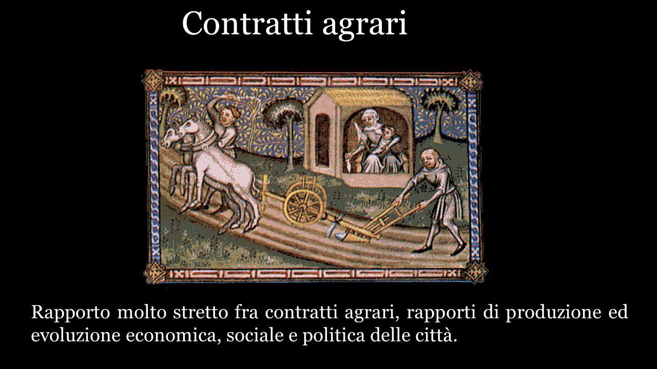 ContraCCo agrari Rapporto molto stretto fra contratti agrari, rapporti di produzione ed evoluzione economica, sociale e politica delle città.