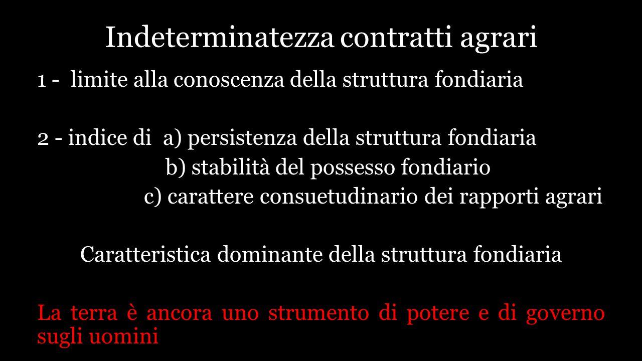 Indeterminatezza contratti agrari 1 - limite alla conoscenza della struttura fondiaria 2 - indice di a) persistenza della struttura fondiaria b) stabi