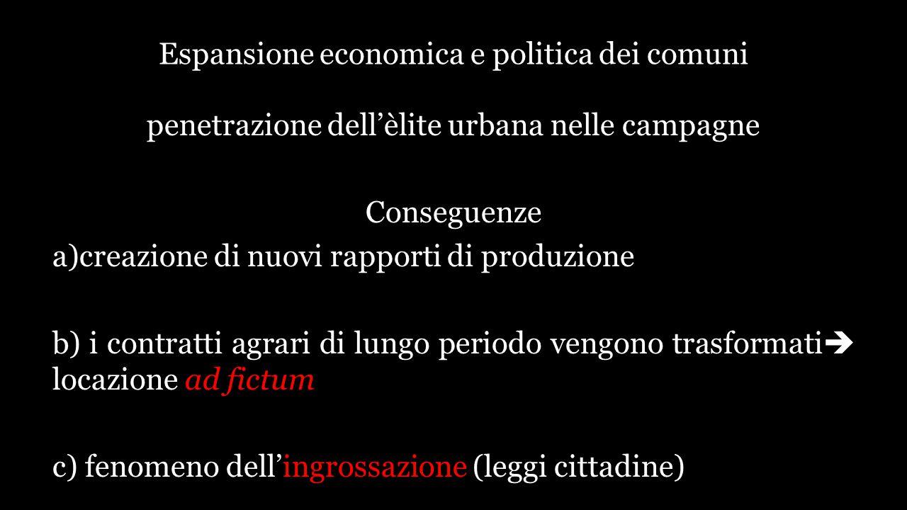 Espansione economica e politica dei comuni penetrazione dell'èlite urbana nelle campagne Conseguenze a)creazione di nuovi rapporti di produzione b) i