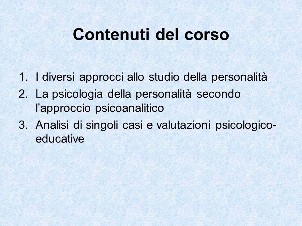 1.possedere un quadro generale della psicologia della personalità 2.maturare competenze applicative di base per valutare singoli casi Obiettivi del corso