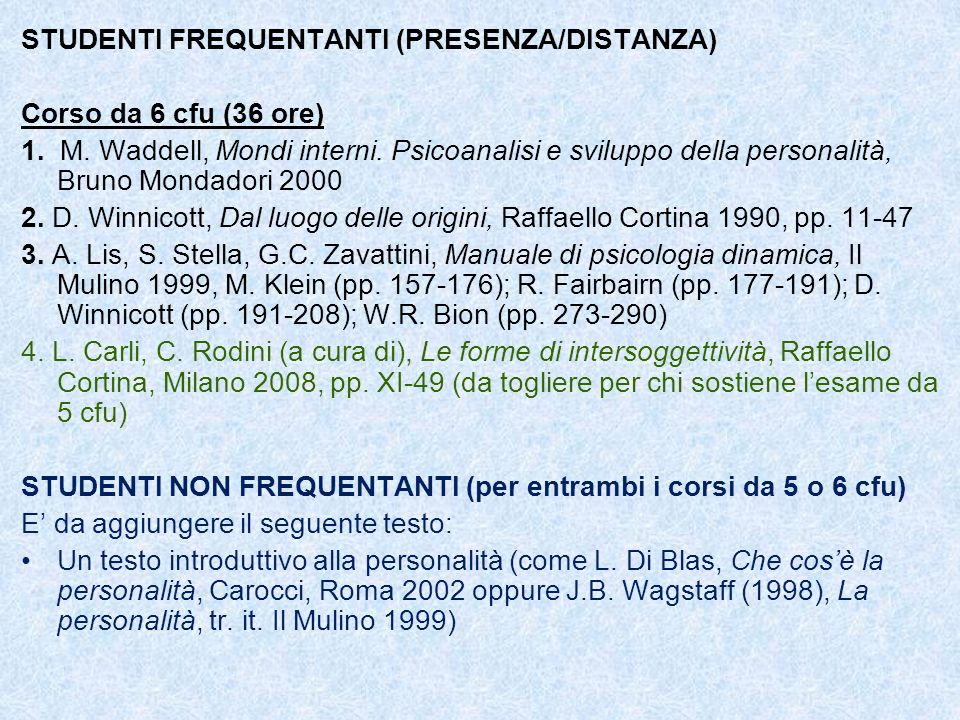 STUDENTI FREQUENTANTI (PRESENZA/DISTANZA) Corso da 6 cfu (36 ore) 1. M. Waddell, Mondi interni. Psicoanalisi e sviluppo della personalità, Bruno Monda