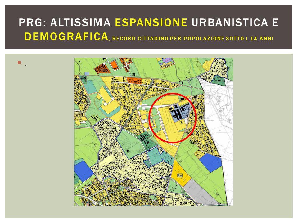 .. PRG: ALTISSIMA ESPANSIONE URBANISTICA E DEMOGRAFICA, RECORD CITTADINO PER POPOLAZIONE SOTTO I 14 ANNI