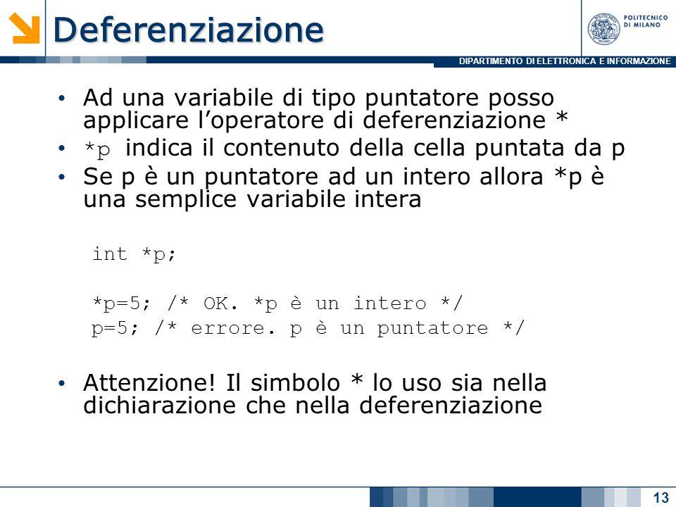 DIPARTIMENTO DI ELETTRONICA E INFORMAZIONEDeferenziazione Ad una variabile di tipo puntatore posso applicare l'operatore di deferenziazione * *p indica il contenuto della cella puntata da p Se p è un puntatore ad un intero allora *p è una semplice variabile intera int *p; *p=5; /* OK.