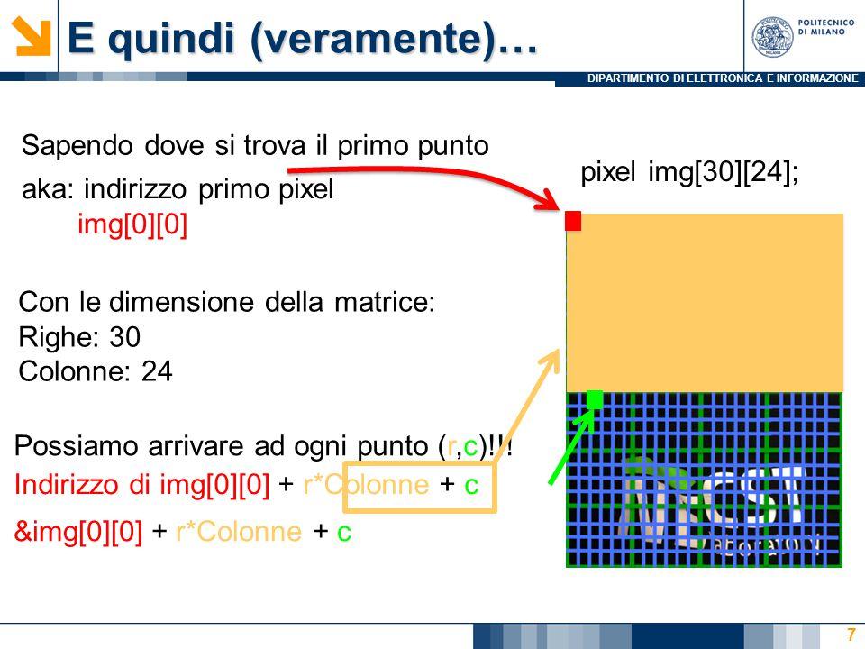 DIPARTIMENTO DI ELETTRONICA E INFORMAZIONE Esempio: passaggio per indirizzo float circonferenza(float *raggio) { float circ; circ = *raggio * 3.14; *raggio = 7; /*istruzione senza senso, voglio solo vedere cosa succede modificando il valore di un paramentro formale*/ return circ; } /* nel main */ float c,r=5; c=circonferenza(&r); /*attenzione.