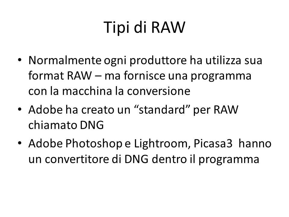 Tipi di RAW Normalmente ogni produttore ha utilizza sua format RAW – ma fornisce una programma con la macchina la conversione Adobe ha creato un standard per RAW chiamato DNG Adobe Photoshop e Lightroom, Picasa3 hanno un convertitore di DNG dentro il programma