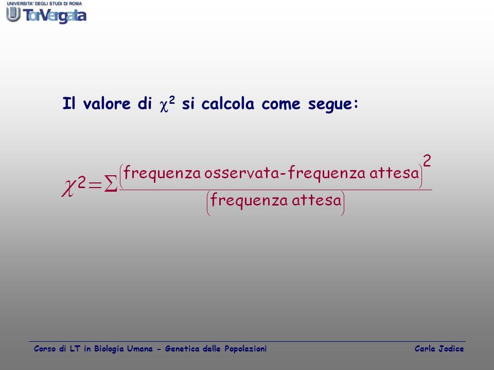 Il valore di  2 si calcola come segue: Corso di LT in Biologia Umana - Genetica delle Popolazioni Carla Jodice