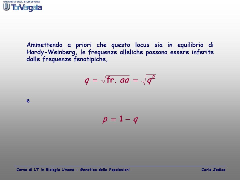 Ammettendo a priori che questo locus sia in equilibrio di Hardy-Weinberg, le frequenze alleliche possono essere inferite dalle frequenze fenotipiche,