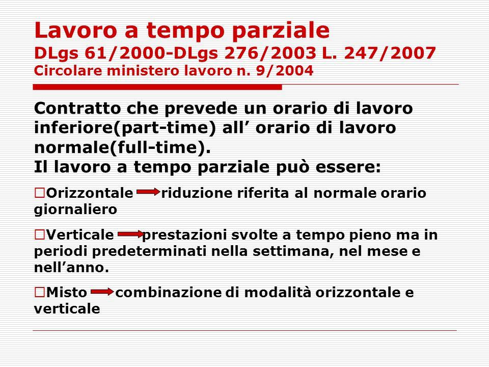 Lavoro a tempo parziale DLgs 61/2000-DLgs 276/2003 L. 247/2007 Circolare ministero lavoro n. 9/2004 Contratto che prevede un orario di lavoro inferior
