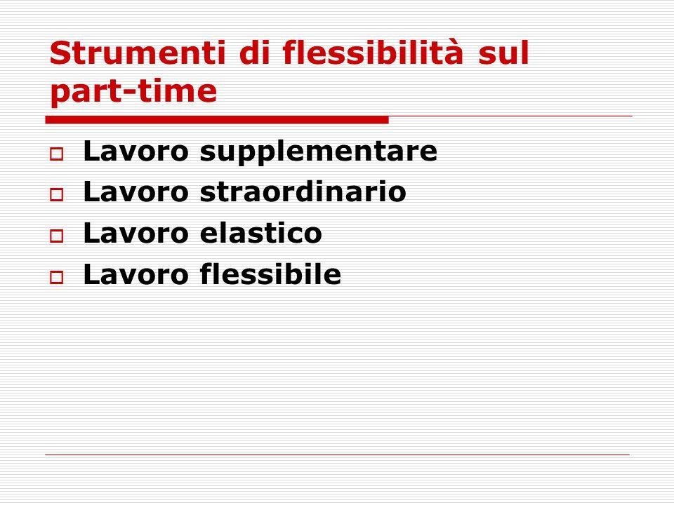 Strumenti di flessibilità sul part-time  Lavoro supplementare  Lavoro straordinario  Lavoro elastico  Lavoro flessibile