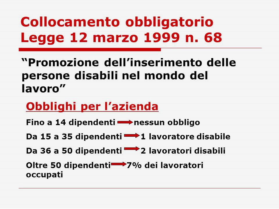 """Collocamento obbligatorio Legge 12 marzo 1999 n. 68 """"Promozione dell'inserimento delle persone disabili nel mondo del lavoro"""" Obblighi per l'azienda F"""