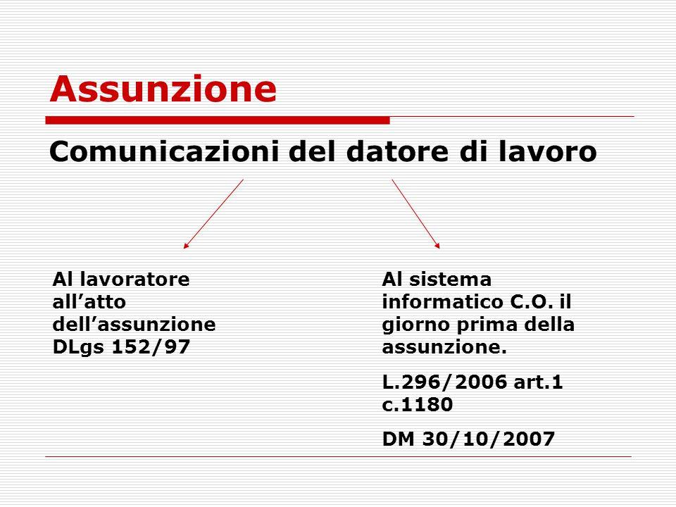 Assunzione Comunicazioni del datore di lavoro Al lavoratore all'atto dell'assunzione DLgs 152/97 Al sistema informatico C.O. il giorno prima della ass