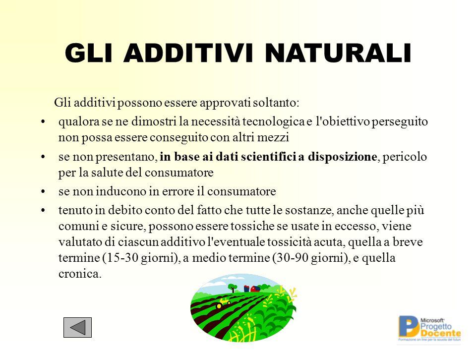 GLI ADDITIVI NATURALI Gli additivi possono essere approvati soltanto: qualora se ne dimostri la necessità tecnologica e l'obiettivo perseguito non pos
