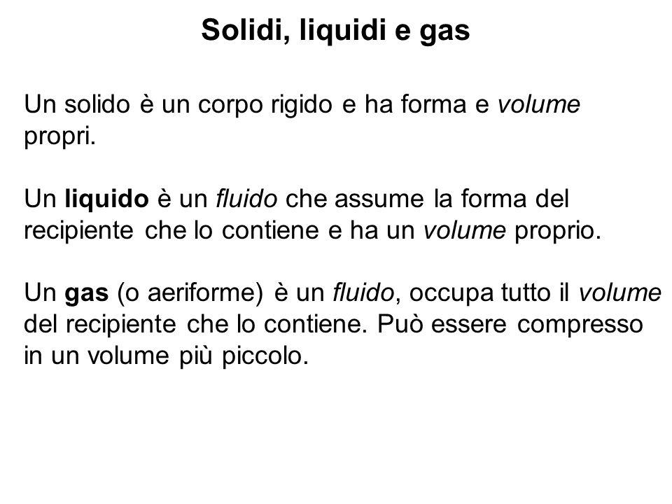 Solidi, liquidi e gas Un solido è un corpo rigido e ha forma e volume propri. Un liquido è un fluido che assume la forma del recipiente che lo contien