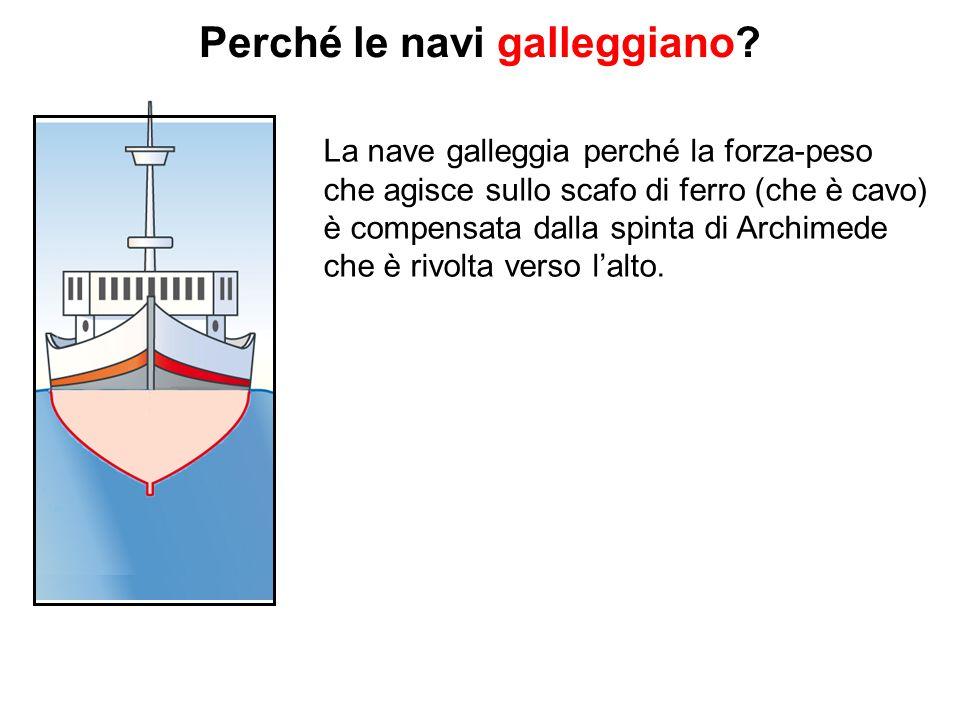 Perché le navi galleggiano? La nave galleggia perché la forza-peso che agisce sullo scafo di ferro (che è cavo) è compensata dalla spinta di Archimede