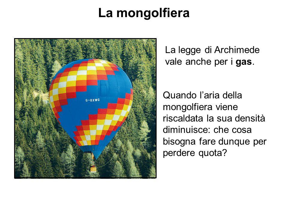 La mongolfiera La legge di Archimede vale anche per i gas. Quando l'aria della mongolfiera viene riscaldata la sua densità diminuisce: che cosa bisogn