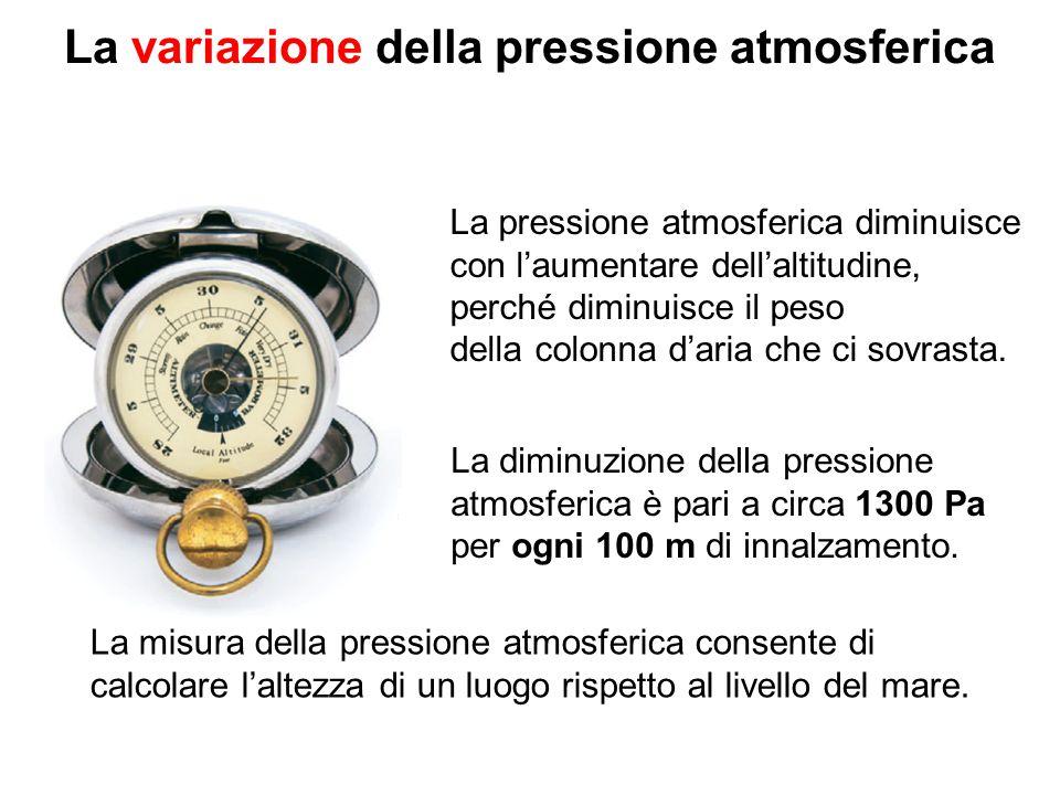 La variazione della pressione atmosferica La pressione atmosferica diminuisce con l'aumentare dell'altitudine, perché diminuisce il peso della colonna