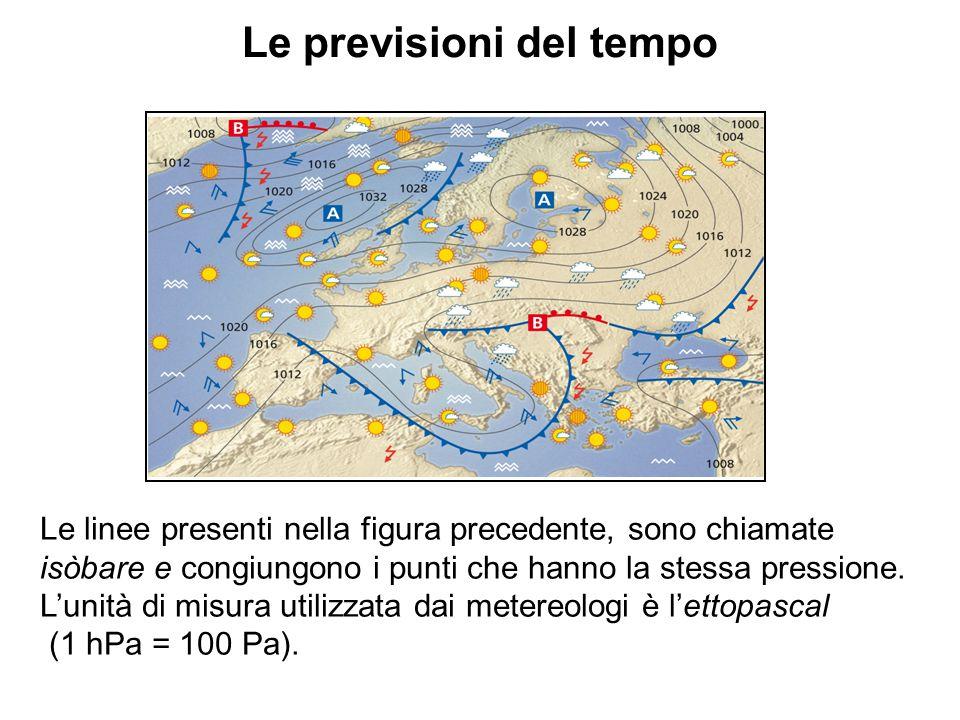 Le previsioni del tempo Le linee presenti nella figura precedente, sono chiamate isòbare e congiungono i punti che hanno la stessa pressione. L'unità