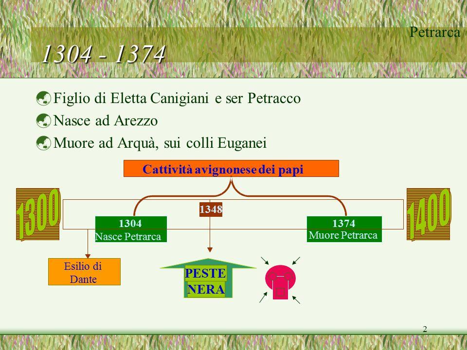 Petrarca 2 1304 - 1374  Figlio di Eletta Canigiani e ser Petracco  Nasce ad Arezzo  Muore ad Arquà, sui colli Euganei 1374 Muore Petrarca 1304 Nasc