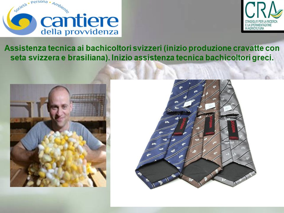 Assistenza tecnica ai bachicoltori svizzeri (inizio produzione cravatte con seta svizzera e brasiliana). Inizio assistenza tecnica bachicoltori greci.