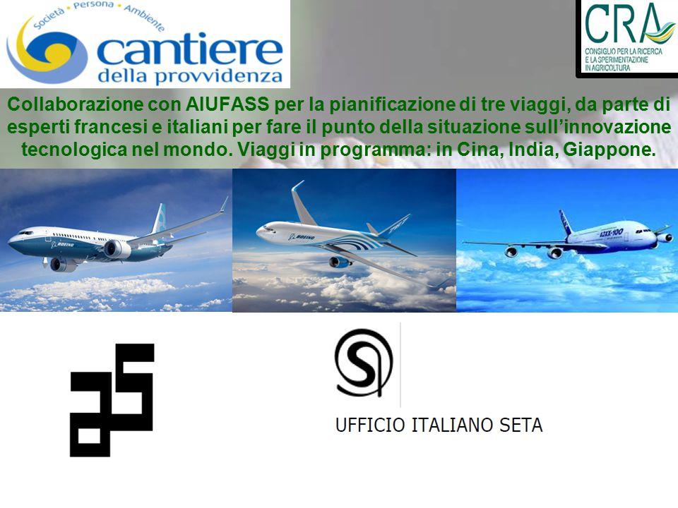 Collaborazione con AIUFASS per la pianificazione di tre viaggi, da parte di esperti francesi e italiani per fare il punto della situazione sull'innova