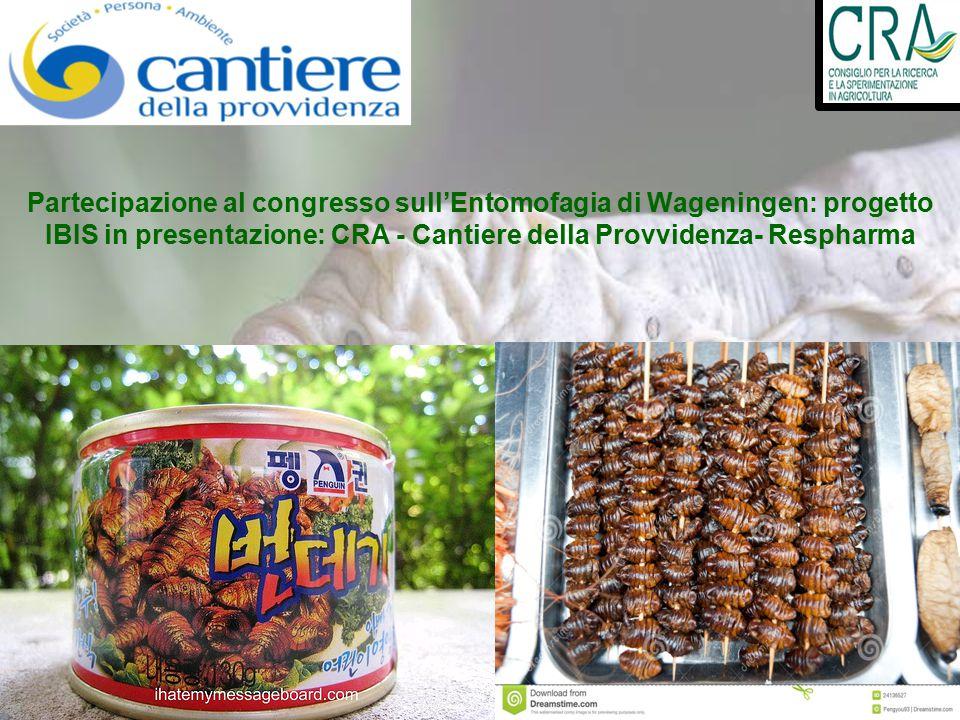 Partecipazione al congresso sull'Entomofagia di Wageningen: progetto IBIS in presentazione: CRA - Cantiere della Provvidenza- Respharma