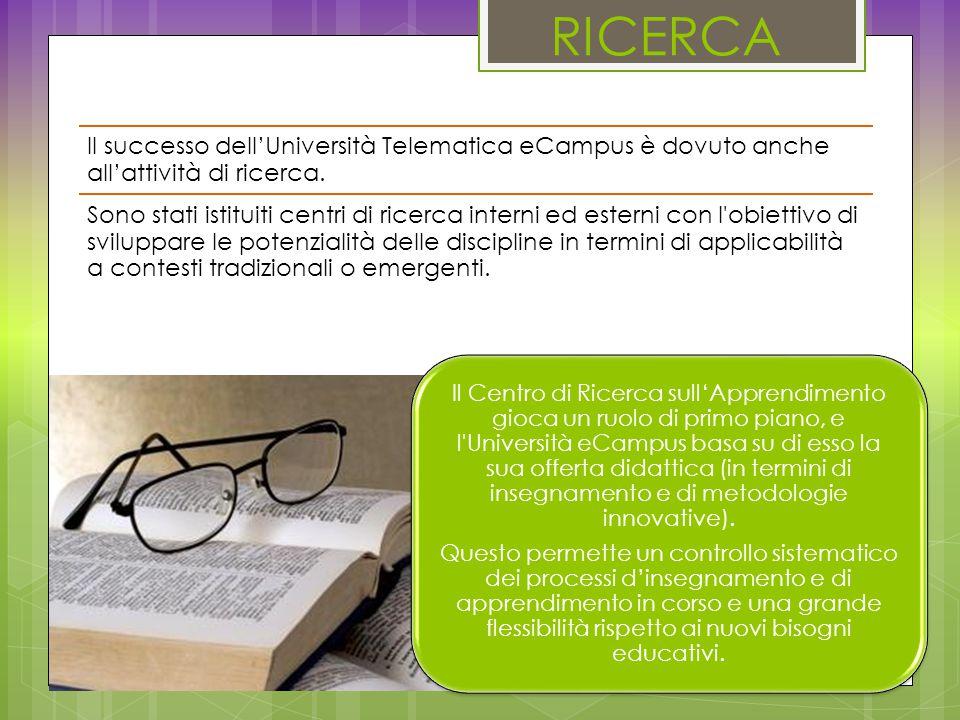 RICERCA Il Centro di Ricerca sull'Apprendimento gioca un ruolo di primo piano, e l Università eCampus basa su di esso la sua offerta didattica (in termini di insegnamento e di metodologie innovative).