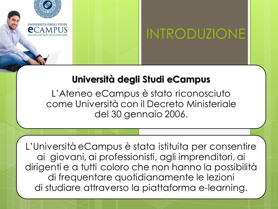 Università degli Studi eCampus L'Ateneo eCampus è stato riconosciuto come Università con il Decreto Ministeriale del 30 gennaio 2006.