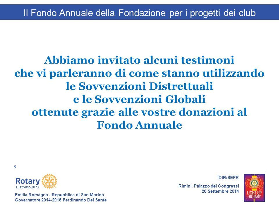 Emilia Romagna - Repubblica di San Marino Governatore 2014-2015 Ferdinando Del Sante Distretto 2072 9 IDIR/SEFR Rimini, Palazzo dei Congressi 20 Sette