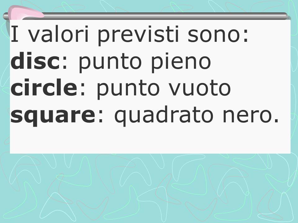 I valori previsti sono: disc: punto pieno circle: punto vuoto square: quadrato nero.