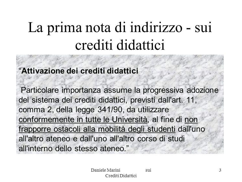 Daniele Marini sui Crediti Didattici 4 Definizione generale: un unità di misura della quantità standard di lavoroIl credito è un unità di misura del carico di apprendimento , cioè della quantità standard di lavoro che è richiesta agli studenti per svolgere le attività di apprendimento.