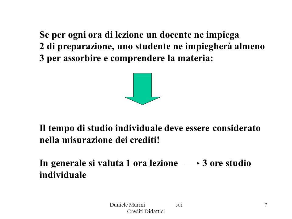 Daniele Marini sui Crediti Didattici 8 Introduzione del sistema: nel nostro ordinamento il sistema dei crediti è stato già previsto dall articolo 11, comma 2, della legge n.