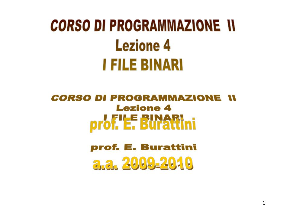 2 Esempi d'uso di file binari.