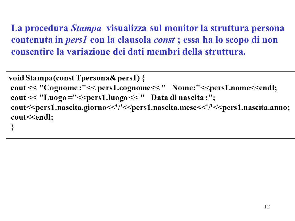 12 La procedura Stampa visualizza sul monitor la struttura persona contenuta in pers1 con la clausola const ; essa ha lo scopo di non consentire la variazione dei dati membri della struttura.