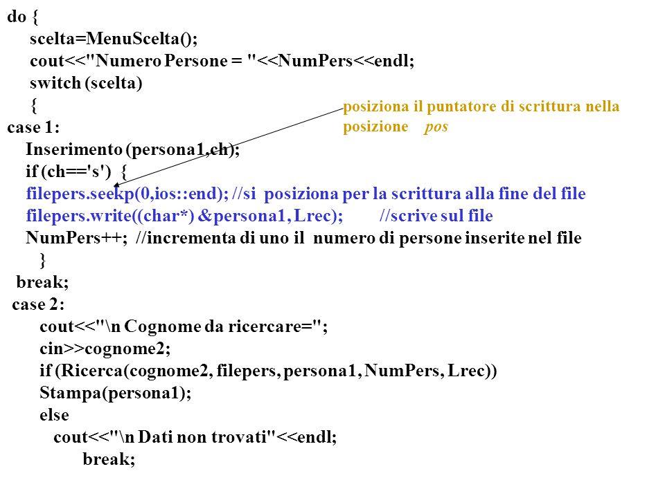 15 do { scelta=MenuScelta(); cout<< Numero Persone = <<NumPers<<endl; switch (scelta) { case 1: Inserimento (persona1,ch); if (ch== s ) { filepers.seekp(0,ios::end); //si posiziona per la scrittura alla fine del file filepers.write((char*) &persona1, Lrec); //scrive sul file NumPers++; //incrementa di uno il numero di persone inserite nel file } break; case 2: cout<< \n Cognome da ricercare= ; cin>>cognome2; if (Ricerca(cognome2, filepers, persona1, NumPers, Lrec)) Stampa(persona1); else cout<< \n Dati non trovati <<endl; break; posiziona il puntatore di scrittura nella posizione pos