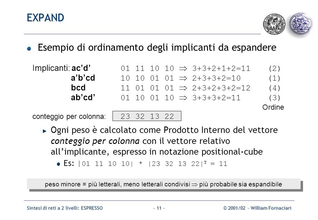 Sintesi di reti a 2 livelli: ESPRESSO© 2001/02 - William Fornaciari- 11 - Esempio di ordinamento degli implicanti da espandere Ogni peso è calcolato come Prodotto Interno del vettore conteggio per colonna con il vettore relativo all'implicante, espresso in notazione positional-cube Es: | 01 11 10 10| * |23 32 13 22| T = 11 Implicanti: ac'd' 01 11 10 10  3+3+2+1+2=11(2) a'b'cd 10 10 01 01  2+3+3+2=10(1) bcd 11 01 01 01  2+3+2+3+2=12(4) ab'cd' 01 10 01 10  3+3+3+2=11(3) Ordine conteggio per colonna: 23 32 13 22 peso minore = più letterali, meno letterali condivisi  più probabile sia espandibile EXPAND