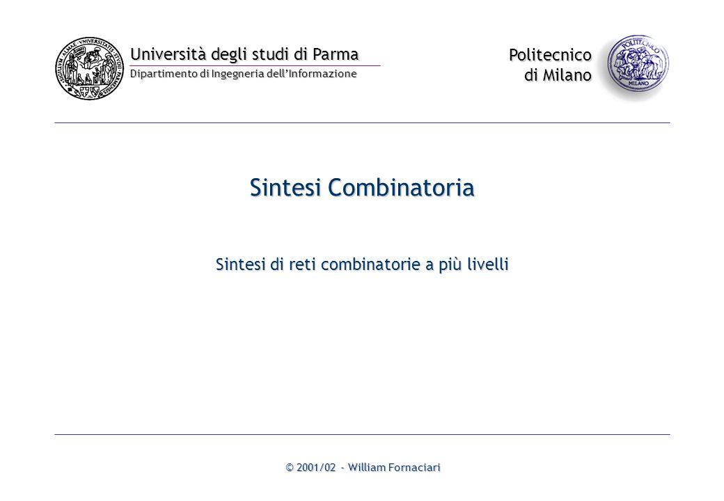 Università degli studi di Parma Dipartimento di Ingegneria dell'Informazione Politecnico di Milano © 2001/02 - William Fornaciari Sintesi Combinatoria Sintesi di reti combinatorie a più livelli