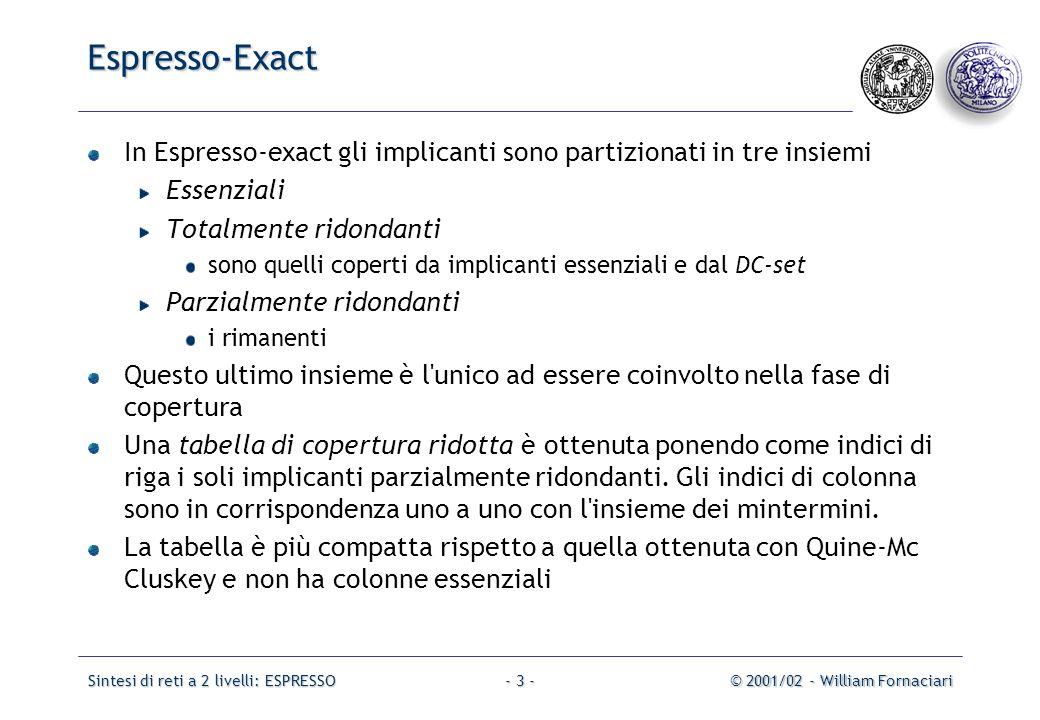 Sintesi di reti a 2 livelli: ESPRESSO© 2001/02 - William Fornaciari- 34 - Problema: differenti sequenze possono portare a differenti soluzioni.