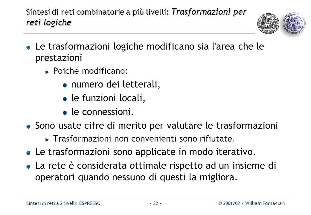 Sintesi di reti a 2 livelli: ESPRESSO© 2001/02 - William Fornaciari- 32 - Le trasformazioni logiche modificano sia l area che le prestazioni Poiché modificano: numero dei letterali, le funzioni locali, le connessioni.