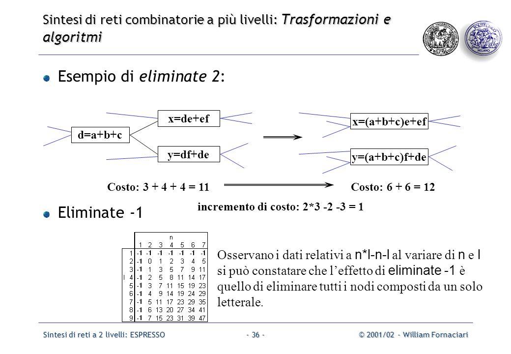 Sintesi di reti a 2 livelli: ESPRESSO© 2001/02 - William Fornaciari- 36 - Esempio di eliminate 2: Eliminate -1 d=a+b+c x=de+ef y=df+de x=(a+b+c)e+ef y=(a+b+c)f+de Costo: 3 + 4 + 4 = 11Costo: 6 + 6 = 12 Osservano i dati relativi a n*l-n-l al variare di n e l si può constatare che l'effetto di eliminate -1 è quello di eliminare tutti i nodi composti da un solo letterale.