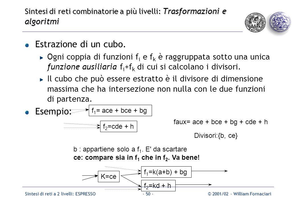 Sintesi di reti a 2 livelli: ESPRESSO© 2001/02 - William Fornaciari- 50 - Sintesi di reti combinatorie a più livelli: Trasformazioni e algoritmi Estrazione di un cubo.