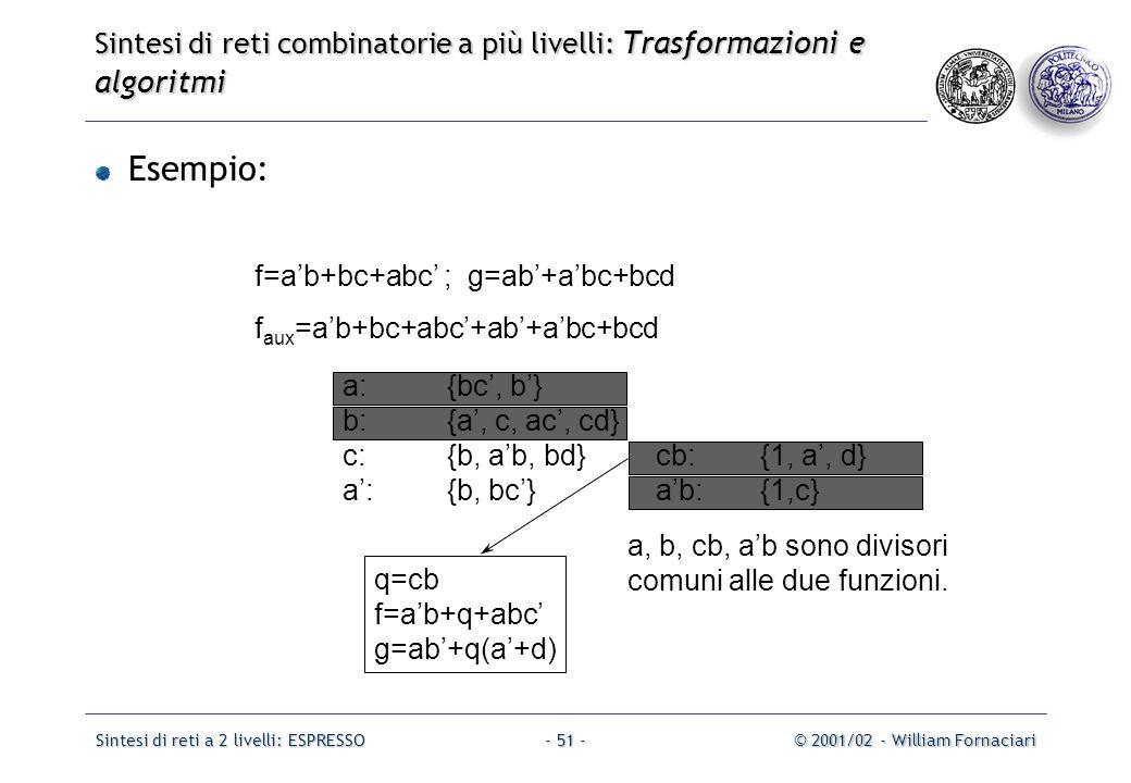 Sintesi di reti a 2 livelli: ESPRESSO© 2001/02 - William Fornaciari- 51 - Esempio: f=a'b+bc+abc' ; g=ab'+a'bc+bcd f aux =a'b+bc+abc'+ab'+a'bc+bcd a:{bc', b'} b:{a', c, ac', cd} c:{b, a'b, bd}cb:{1, a', d} a':{b, bc'}a'b:{1,c} q=cb f=a'b+q+abc' g=ab'+q(a'+d) a, b, cb, a'b sono divisori comuni alle due funzioni.