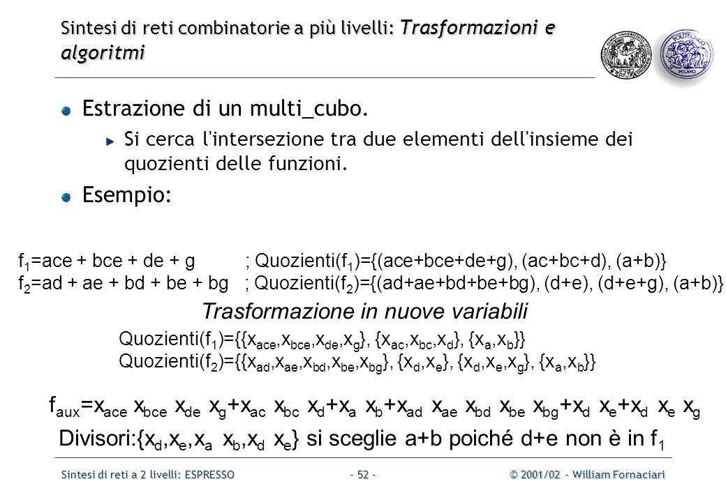 Sintesi di reti a 2 livelli: ESPRESSO© 2001/02 - William Fornaciari- 52 - Estrazione di un multi_cubo.