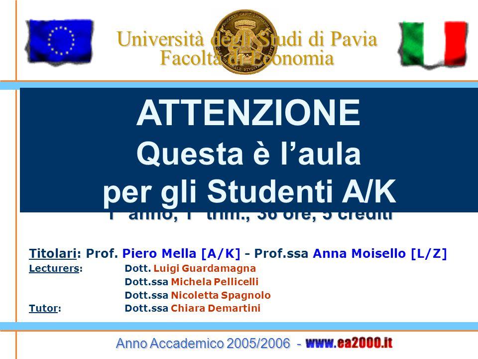 Università degli Studi di Pavia Facoltà di Economia B E N V E N U T I al Corso di Economia Aziendale Istituzioni 1° anno, 1° trim., 36 ore, 5 crediti Titolari: Prof.