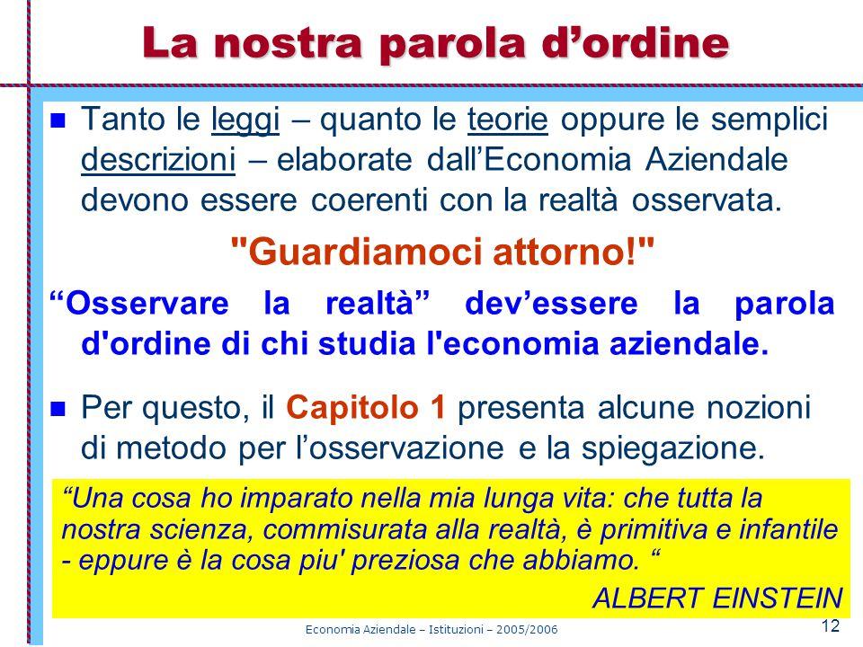 Economia Aziendale – Istituzioni – 2005/2006 12 La nostra parola d'ordine Tanto le leggi – quanto le teorie oppure le semplici descrizioni – elaborate dall'Economia Aziendale devono essere coerenti con la realtà osservata.