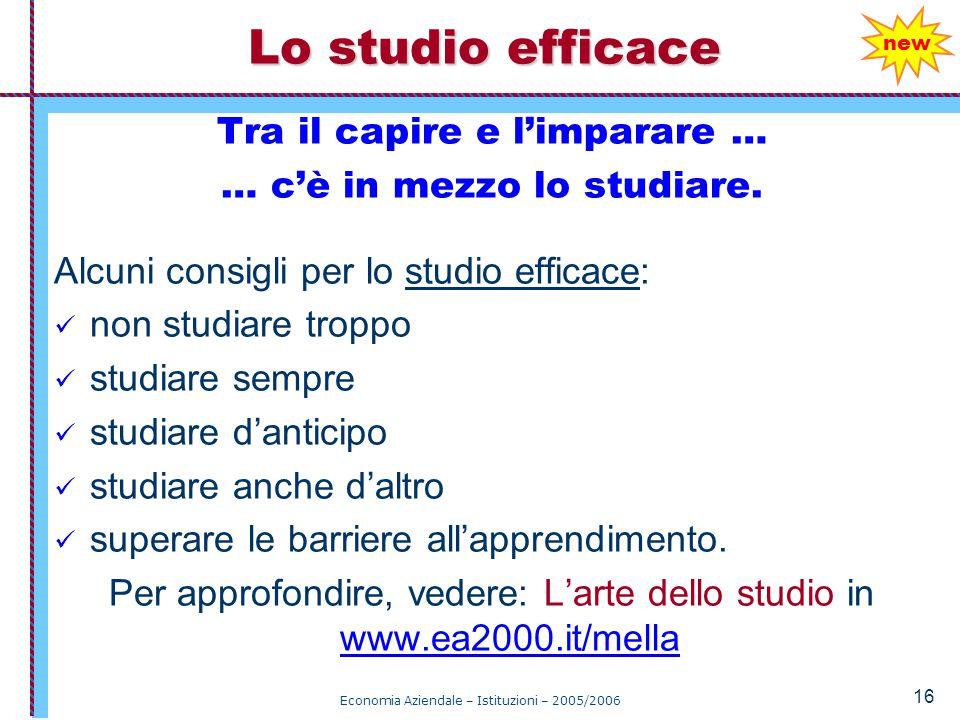 Economia Aziendale – Istituzioni – 2005/2006 16 Tra il capire e l'imparare … … c'è in mezzo lo studiare.