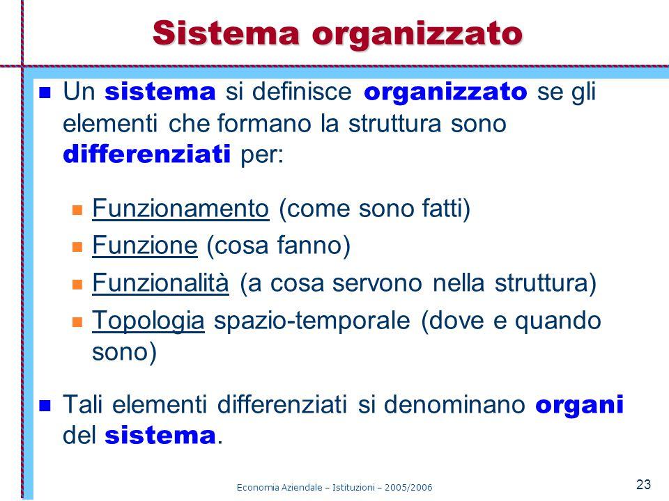 Economia Aziendale – Istituzioni – 2005/2006 23 Un sistema si definisce organizzato se gli elementi che formano la struttura sono differenziati per: Funzionamento (come sono fatti) Funzione (cosa fanno) Funzionalità (a cosa servono nella struttura) Topologia spazio-temporale (dove e quando sono) Tali elementi differenziati si denominano organi del sistema.