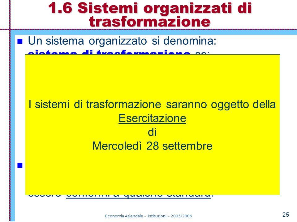Economia Aziendale – Istituzioni – 2005/2006 25 Un sistema organizzato si denomina: sistema di trasformazione se: è un sistema aperto, attua una trasformazione di qualche specie (qualitativa o quantitativa) degli input che diventano output del sistema, con dati livelli di efficienza.